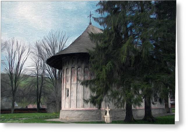 Painted Monastery Greeting Card by Jeff Kolker