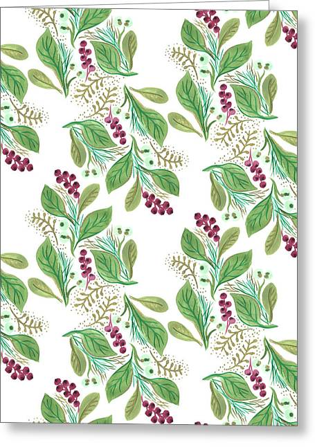 Painted Nature Coordinating Foliage Leaves Festive Pattern.jpg Greeting Card