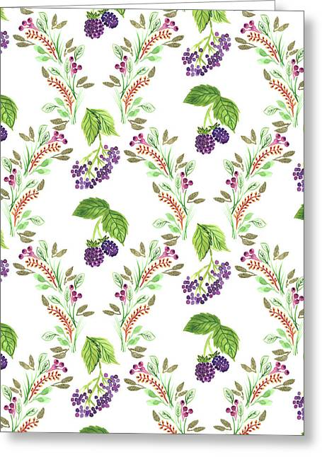 Painted Nature Damask Style Foliage With Brambles And Elderberries.jpg Greeting Card