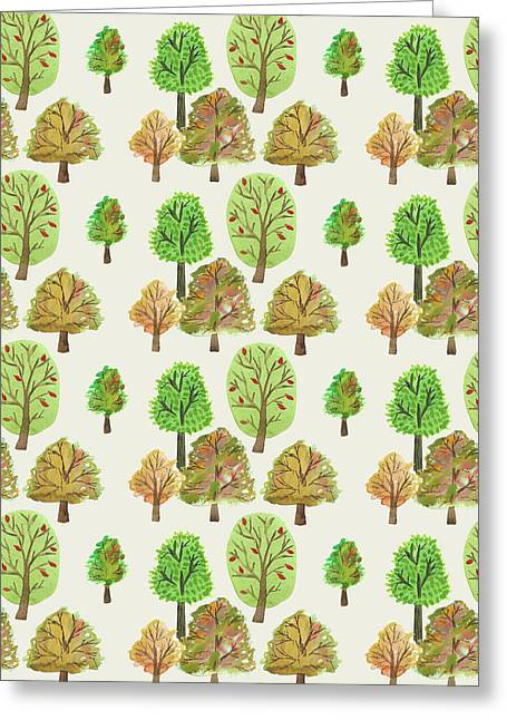 Painted Nature Trees Multi Watercolour Autumnal Print.jpg Greeting Card