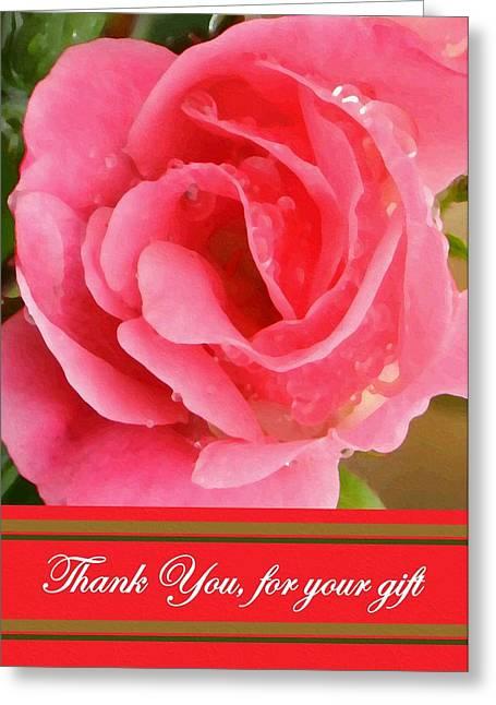Painted Pink Rose Greeting Card