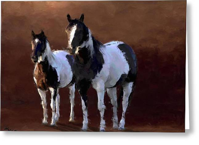 Painted Ponies Greeting Card by Roger D Hale