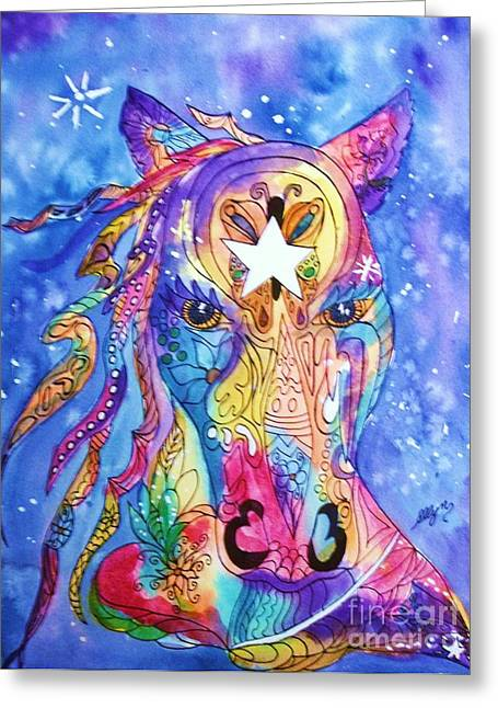 Painted Pony Greeting Card by Ellen Levinson