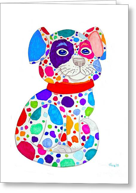 Painted Pooch Greeting Card by Nick Gustafson