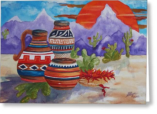 Painted Pots And Chili Peppers Greeting Card by Ellen Levinson
