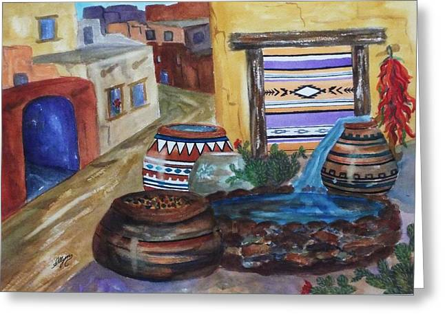 Painted Pots And Chili Peppers II  Greeting Card by Ellen Levinson