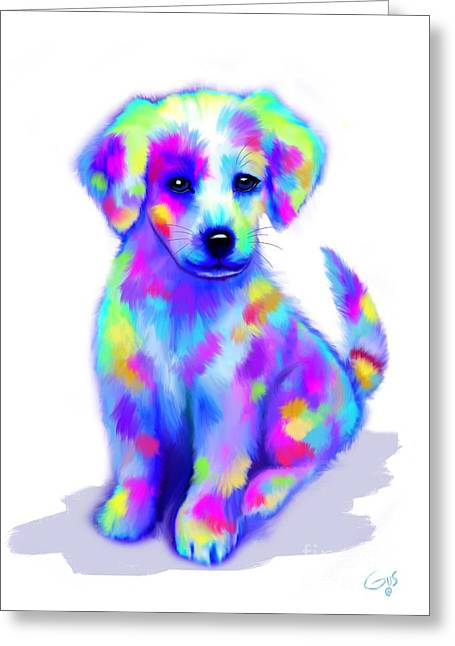 Painted Pup Greeting Card by Nick Gustafson