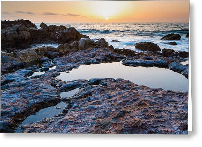 Painted Rocks At Golden Cove Greeting Card by Adam Pender