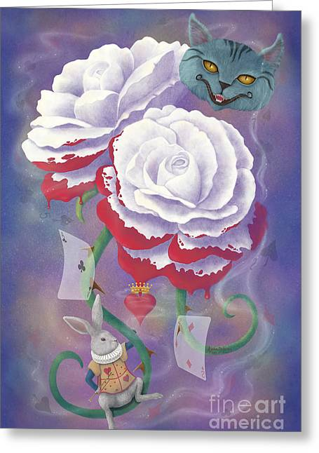 Painted Roses For Wonderland's Heartless Queen Greeting Card by Audra D Lemke