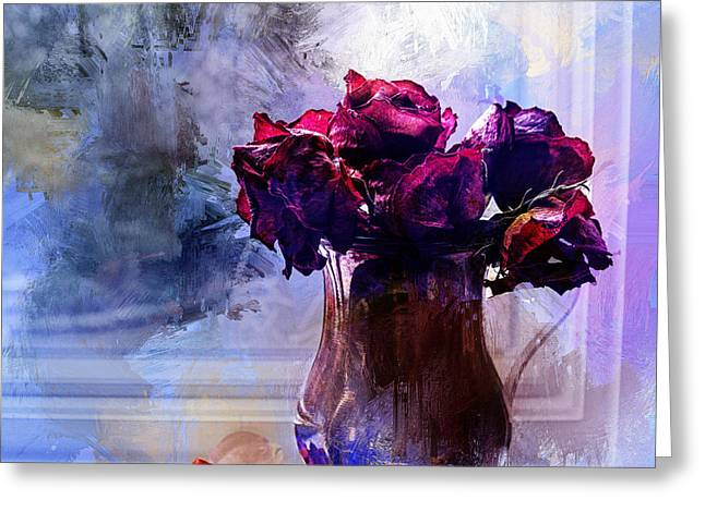 Painted Roses In Window Greeting Card by Terry Rowe