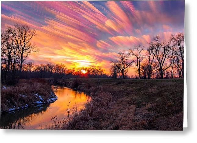 Painted Skies At Sunset Greeting Card by Jackie Novak