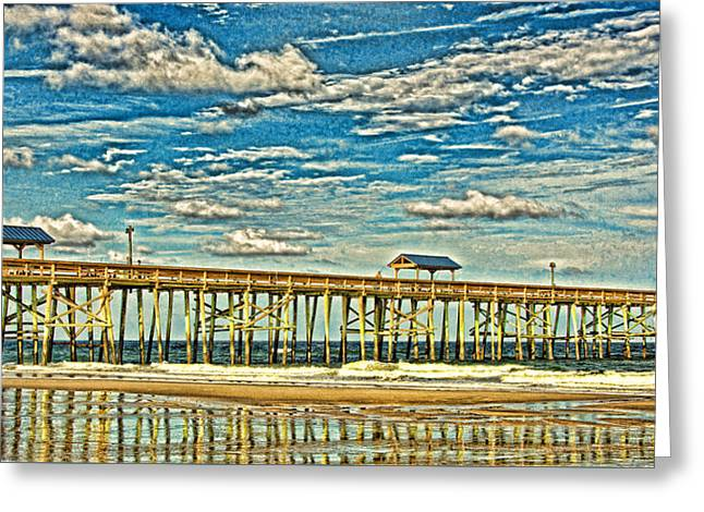 Greeting Card featuring the photograph Surreal Reflection Pier by Paula Porterfield-Izzo
