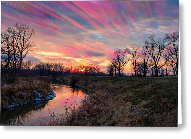 Painted Sky Of Pink And Blue Greeting Card by Jackie Novak