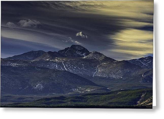 Painted Sky Over Longs Peak Greeting Card by Tom Wilbert