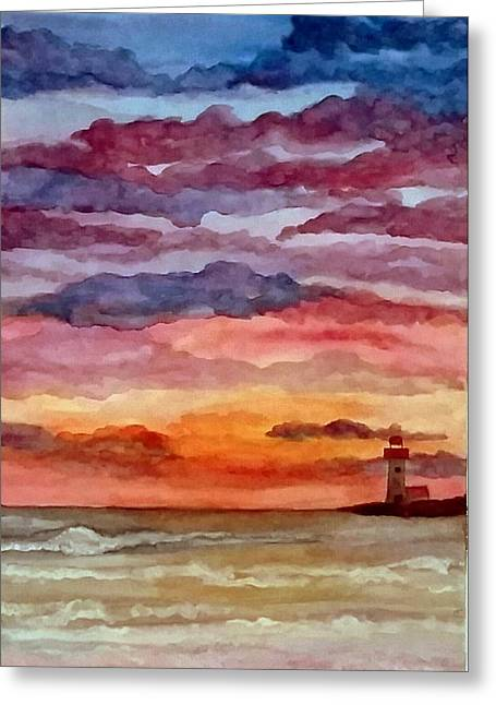 Painted Sky Over Ocean Greeting Card