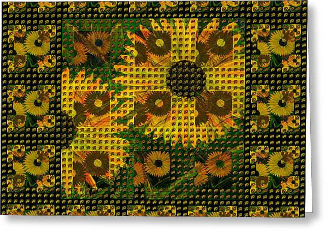 Painted Sunflower Abstract Greeting Card