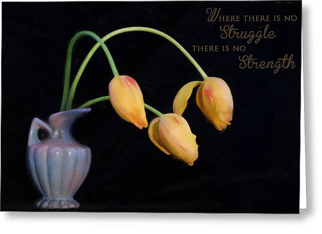 Painted Tulips With Message Greeting Card