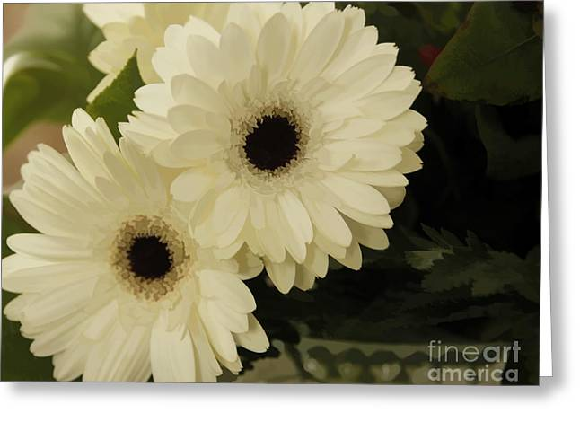 Painted White Flowers Greeting Card by Nancy Dempsey