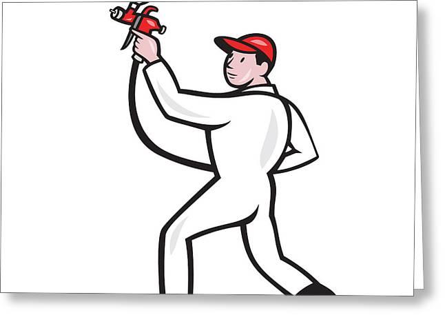 Painter Spray Paint Gun Side Cartoon Greeting Card by Aloysius Patrimonio