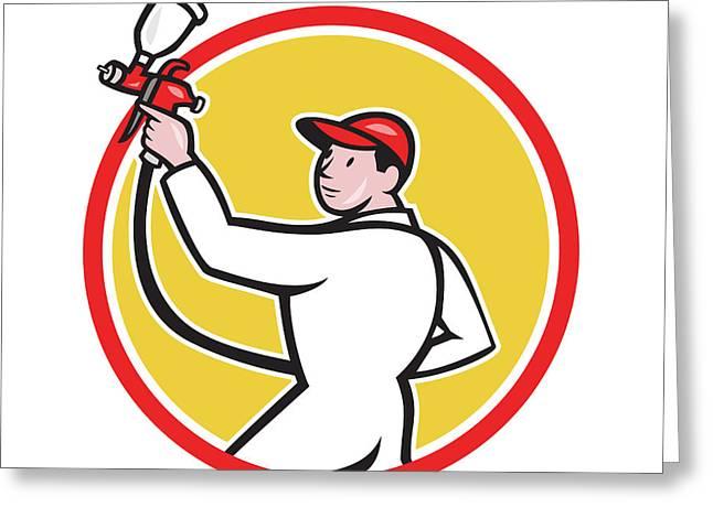 Painter Spray Paint Gun Side Circle Cartoon Greeting Card by Aloysius Patrimonio