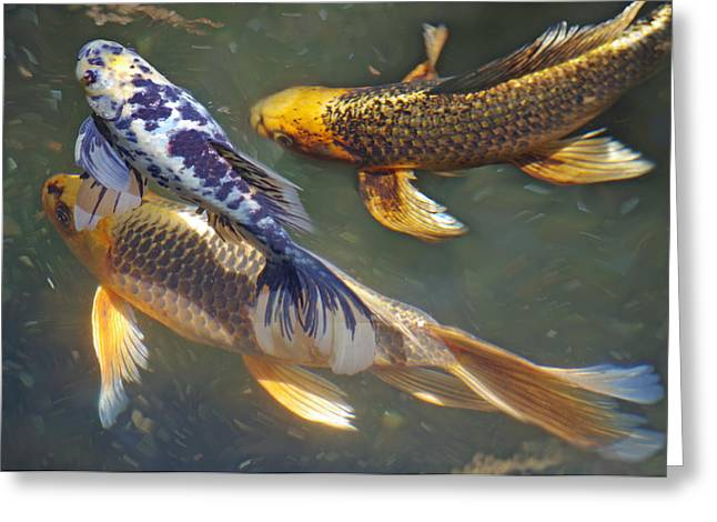 Painterly Fishpond Greeting Card by Adria Trail