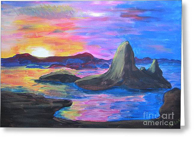 Painting     Grand Finale Greeting Card by Judy Via-Wolff