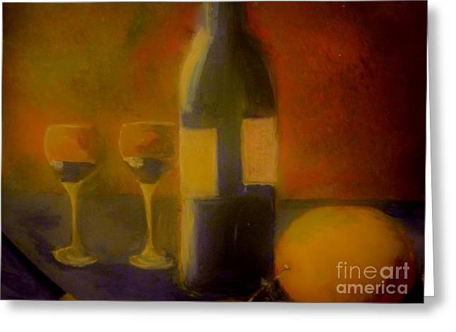 Greeting Card featuring the painting Painting And Wine by Lisa Kaiser