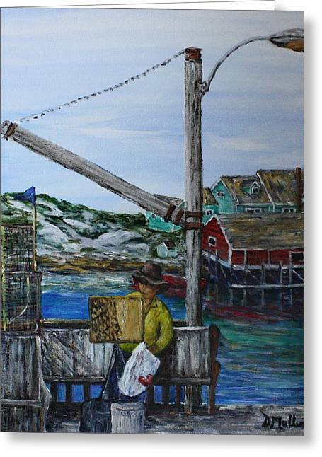 Painting At Peggy's Cove Greeting Card by Donna Muller