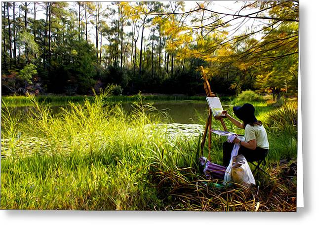 Painting At The Pond Greeting Card