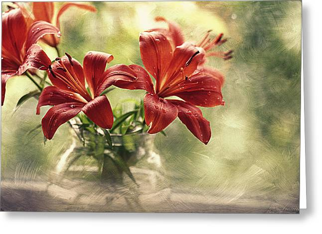 Painting Daylilies On My Window Greeting Card by Maria Angelica Maira