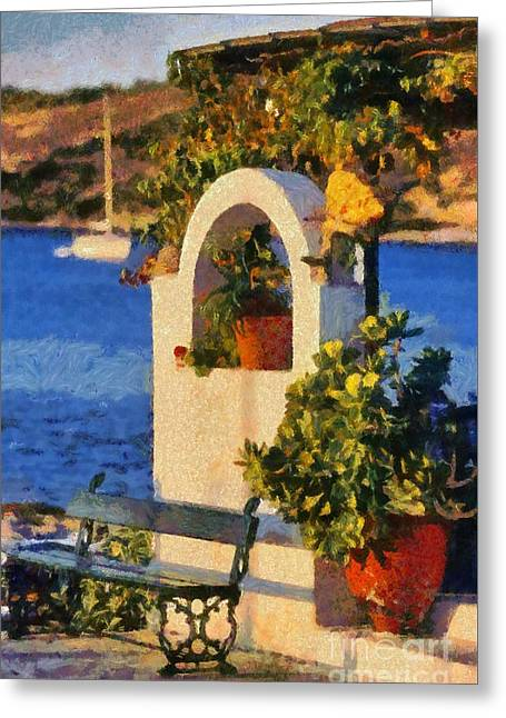 Agia Marina Town Greeting Card by George Atsametakis