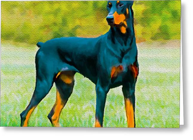 Painting Doberman Pincher Greeting Card by Bob and Nadine Johnston