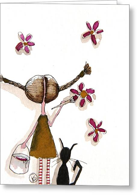 Painting Flowers Greeting Card by Lucia Stewart