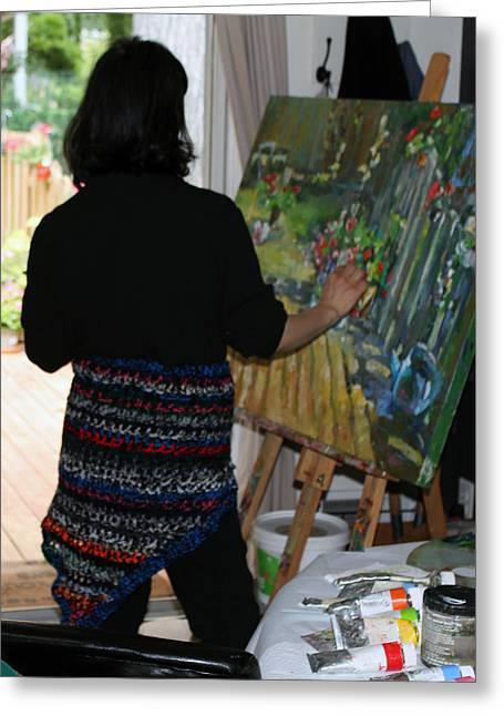 Painting My Backyard 1 Greeting Card by Becky Kim