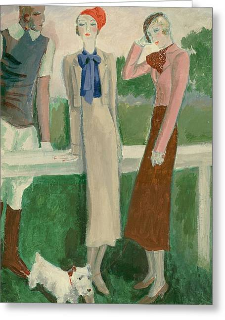 Painting Of A Fashionable Man And Two Women Greeting Card by Eduardo Garcia Benito