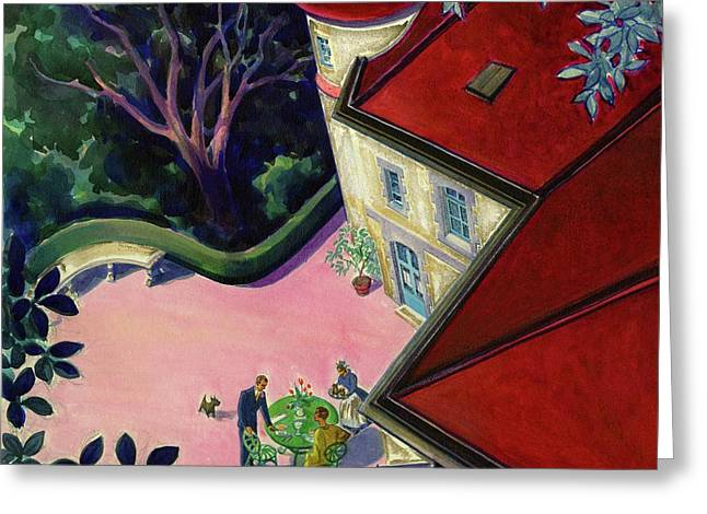 Painting Of A House With A Patio Greeting Card by Walter Buehr