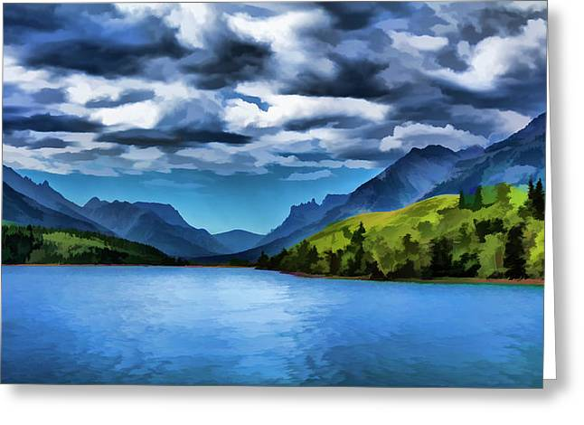 Painting Of A Lake And Mountains Greeting Card