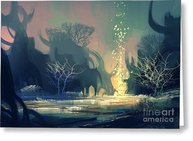 Painting Of Fantasy Landscape With Greeting Card