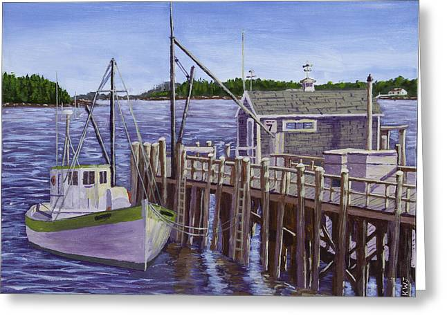 Fishing Boat Docked In Boothbay Harbor Maine Greeting Card by Keith Webber Jr