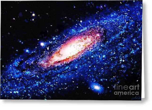 Painting Of Galaxy Greeting Card by Antony McAulay