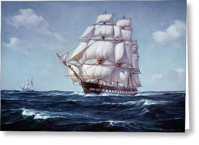 Painting Of The Square Rigged Frigate Greeting Card