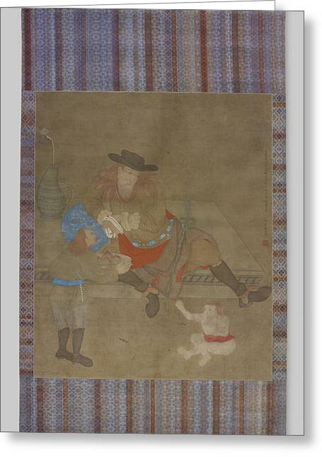 Painting Of Three Westerners, Zhang Rulin Greeting Card