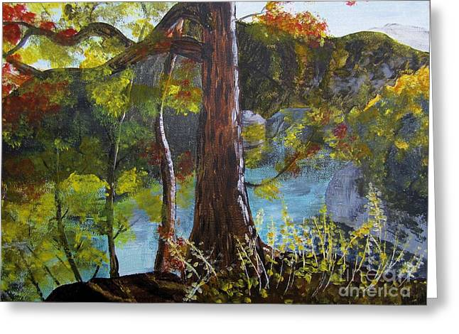 Painting Of Tree Of Golden Light Greeting Card by Judy Via-Wolff