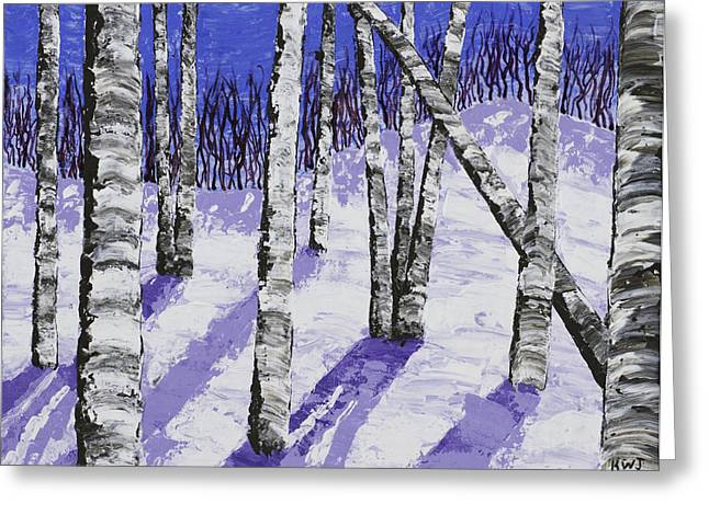 Painting Of White Birch Trees In Winter Greeting Card