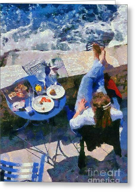 Painting Of Woman In Hydra Island Greeting Card