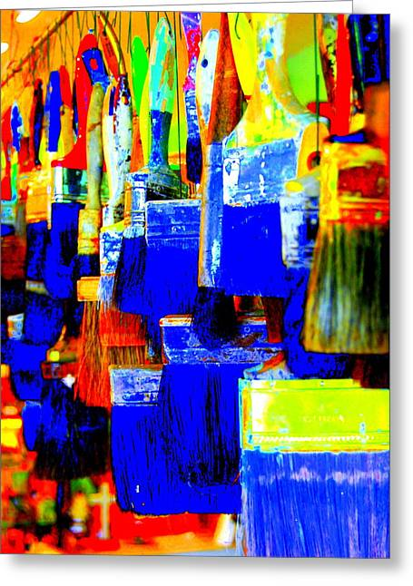 Painting Paintbrushes  Greeting Card by Mamie Gunning