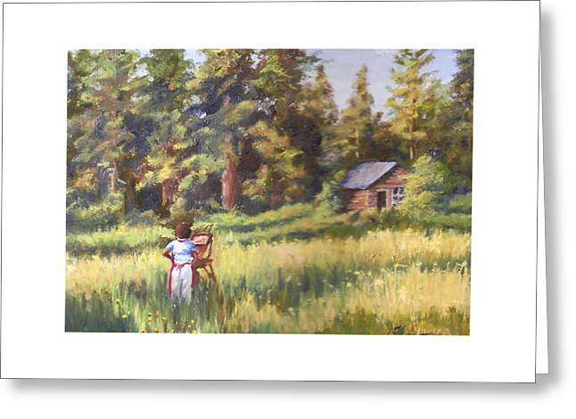 Painting Plein Aire In Idaho Greeting Card by Harriett Masterson