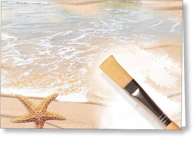 Painting The Beach Greeting Card by Amanda Elwell