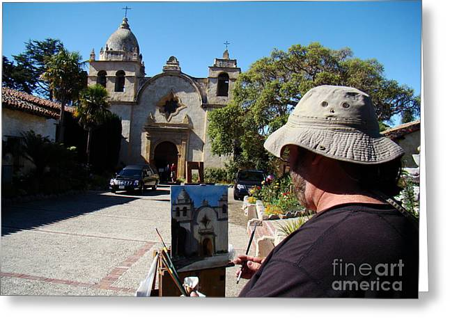 Painting The Mission Greeting Card by Eva Kato