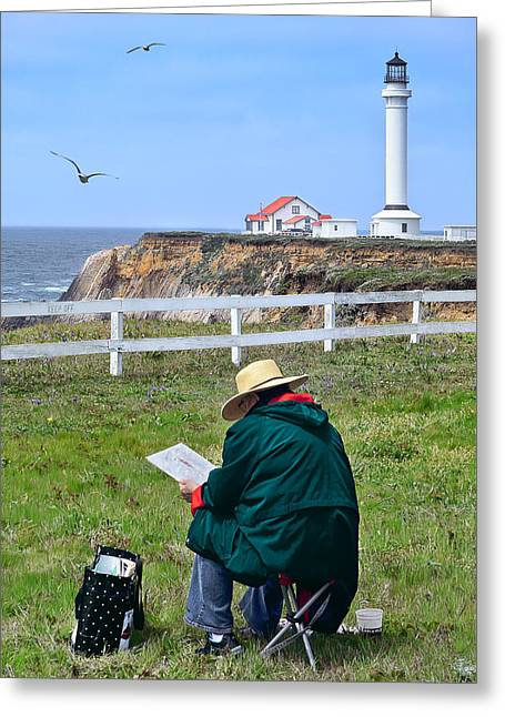 Greeting Card featuring the photograph Painting The Point 2 by Jon Exley